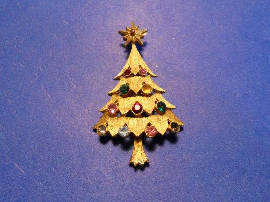 Vintage Rhinestone Tree Brooch