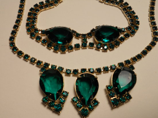 Set Vintage Rhinestone Necklace and Bracelet