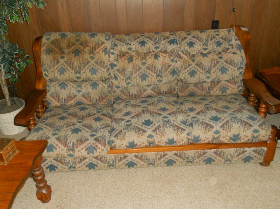 Vintage Wood Couch with Cushions