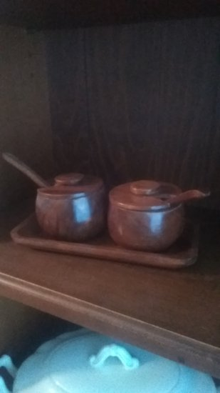 Vintage Wood Condiment Bowl and Tray set
