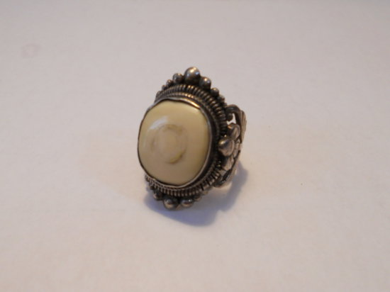Vintage Silver and Ivory Ring