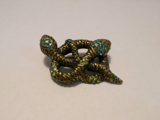Vintage Double Head Rhinestone Snakes Brooch