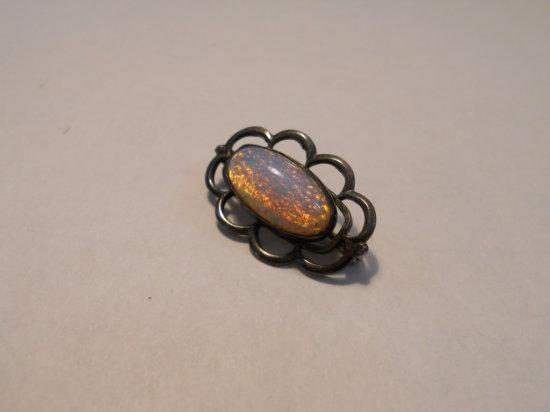 Vintage Opal Sterling Brooch