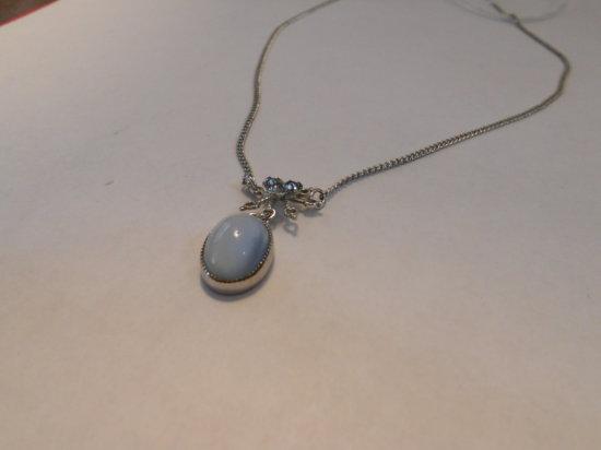 Vintage Blue Kavachon Sterling Necklace