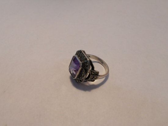 Vintage Amethyst Glass Sterling Ring