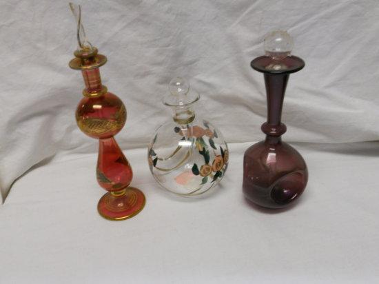 Lot of 3 Vintage Perfume Bottles