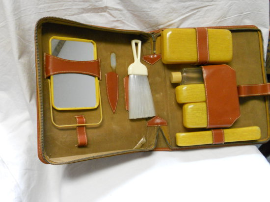 Vintage Cowhide Vanity Travel Case