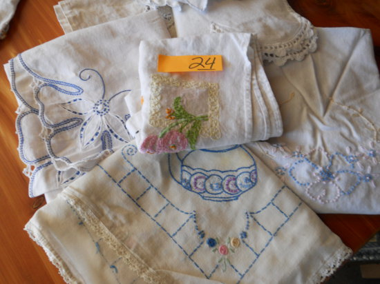 Vintage Lot of Embroidered Table Covers