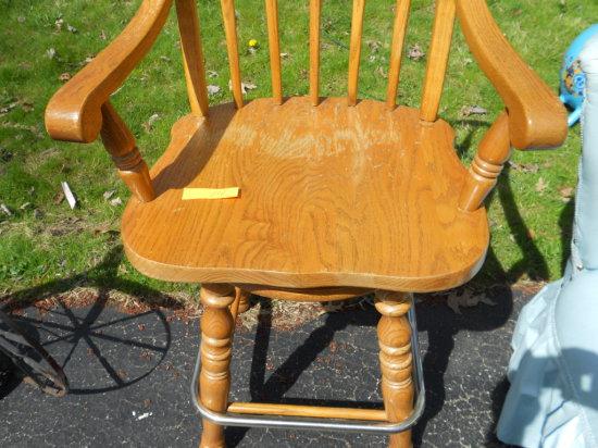Vintage Wood Swivel Barstool