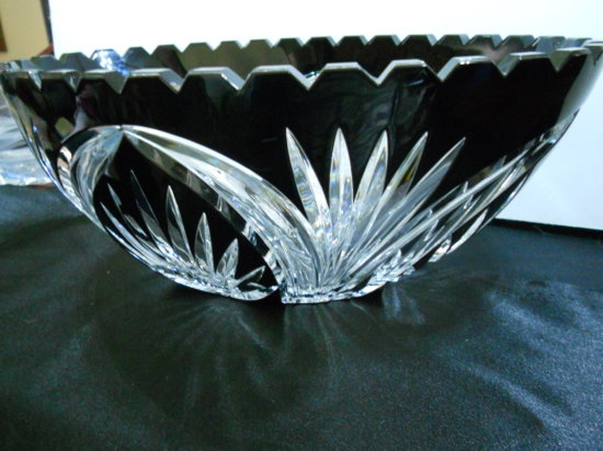 Vintage Cut Glass Bohemian Banana Bowl