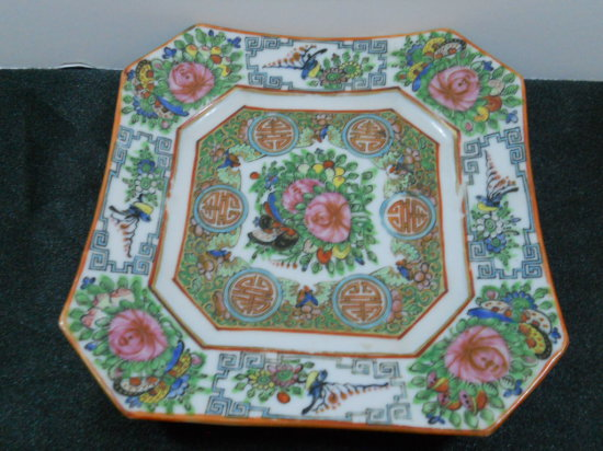 Vintage Square Asian Design Plate