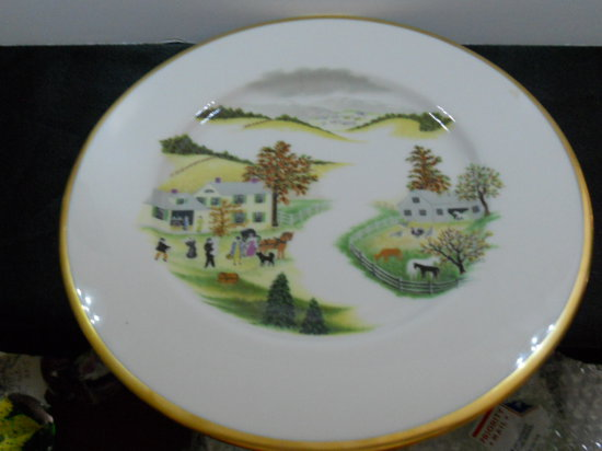 Shenango China Plate, Farm Scene