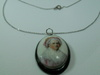 Vintage Hand Painted Portrait Sterling Necklace