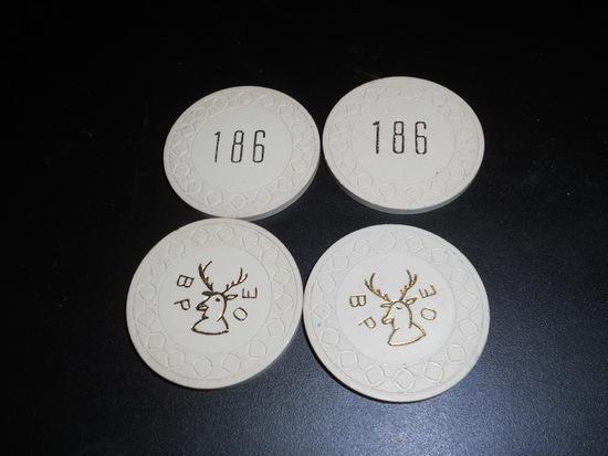 Lot of 4 BPOE 186 Clay Poker Chips