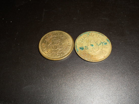 Lot of 2 Chuck E Cheese Tokens, 1982 and 1984