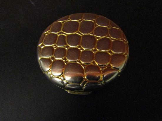 Vintage Estee Lauder Gold over Silver Alligator Compact