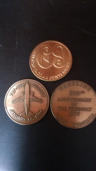 Lot of 3 Commemorative Coins,737 Rollout