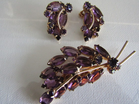 Amethyst Glass Brooch and Earrings