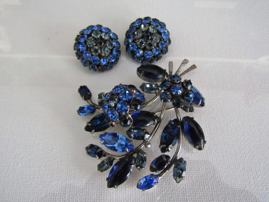 Vintage Blue Jiggler Rhinestone Set