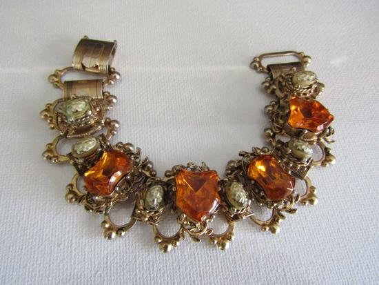 Vintage Amber Glass Bookcharn Bracelet