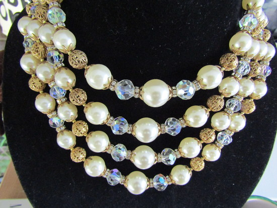 Vintage Faut Pearl, Rhinestone Crystal Necklace