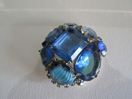 Vintage Dome Blue Glass and Rhinestone Brooch