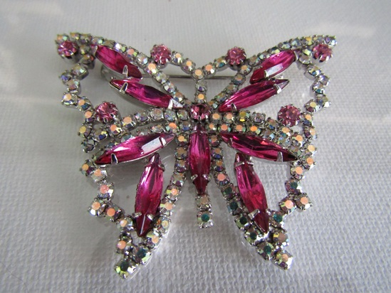Vintage AB Rhinestone Pink Butterfly