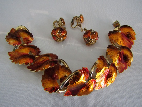 Vintage Fall Leaf Enamel and Rhinestone Bracelet Set
