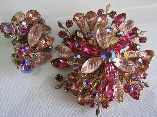 Huge Vintage Molded Glass AB Pink Rhinestone Set