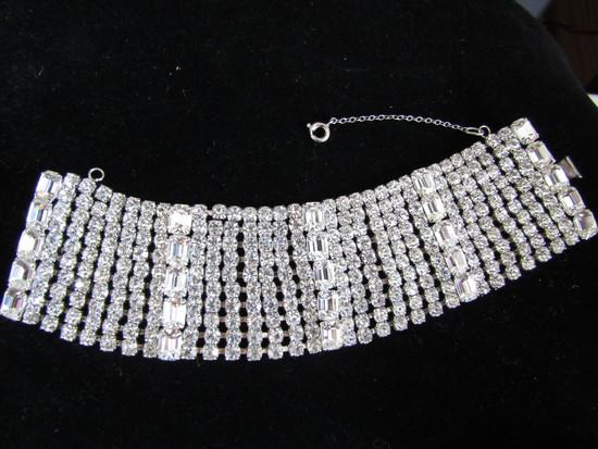 Vintage 1.75in Wide Glass Rhinestone Bracelet