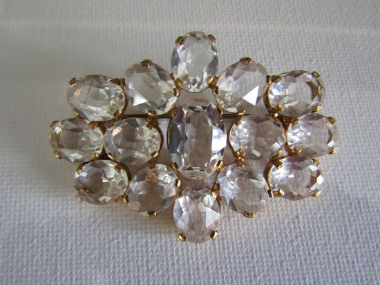 Vintage Czech Crystal Signed Brooch