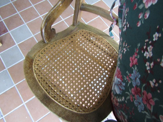 Vintage Wood Chair, Cained Seat