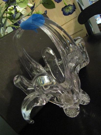 Vintage Flower Design Glass Basket