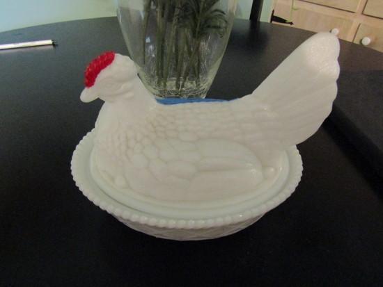 Vintage Milk Glass Chicken Basket