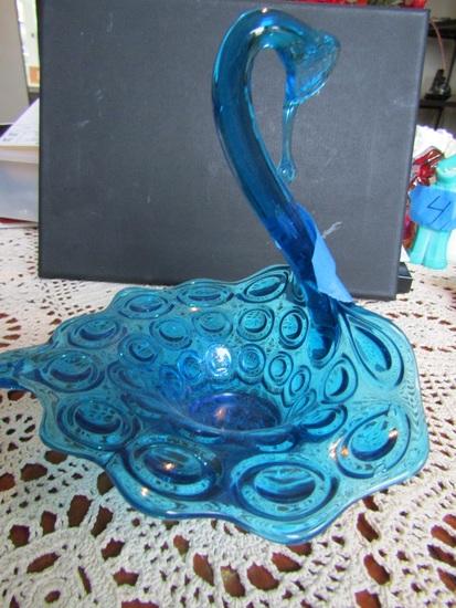 Vintage Blue Swan Dish