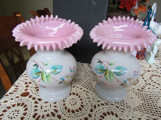 Lot of 2 Victorian Hand Blown Flower Design Vases