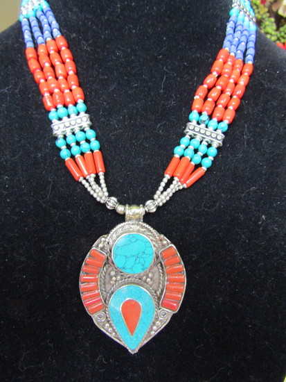 Silver Tibetan and Red Coral Necklace