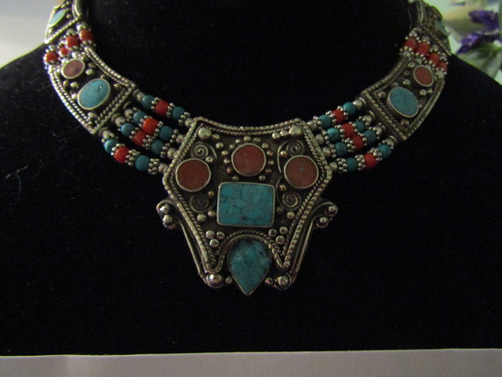 Tibetan Turqoise and Red Coral Silver Necklace