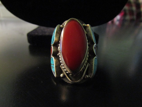 Tibetan Red Coral and Turqoise Silver Ring