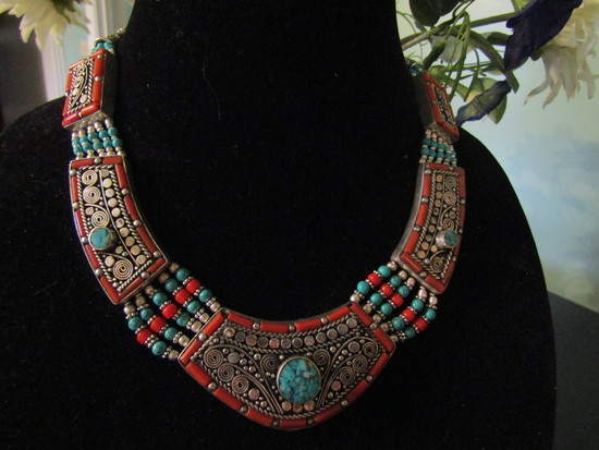 Tibetan Red Coral and Turqoise Silver Necklace