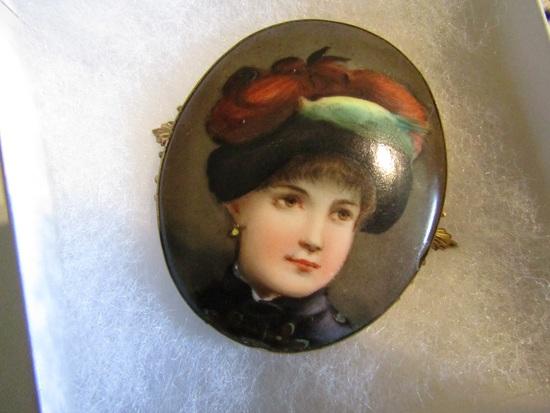 Antique Large Hand Painted Portrait Brooch