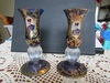 Lot of 2 Bohemian Hand Painted Glass Candle Holders