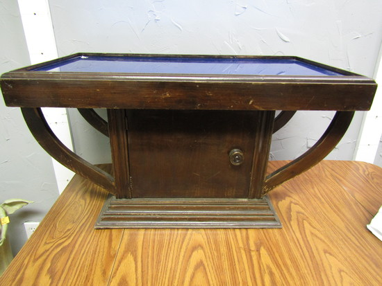 Coffee Table, Liquor Cabinet, Blue Glass Top