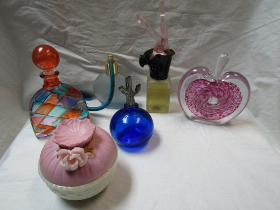 Lot of 6 Perfume Bottles and Decorative Glass