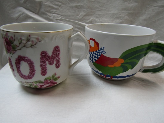 Lot of 2 Vintage Mugs, Rooster and MOM. L'Amour China
