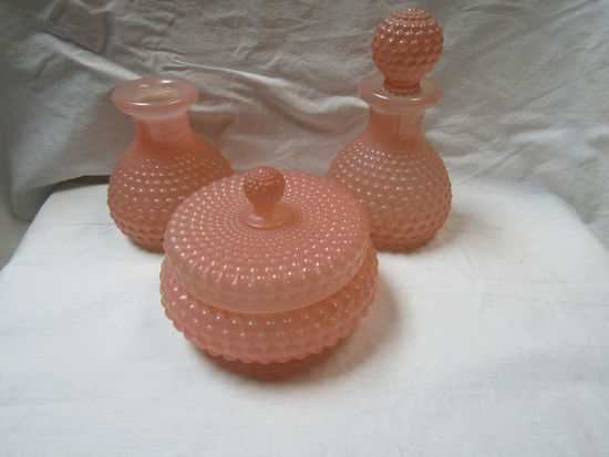 Lot of 3 Vanity Glass Set, Pink Hob Nob