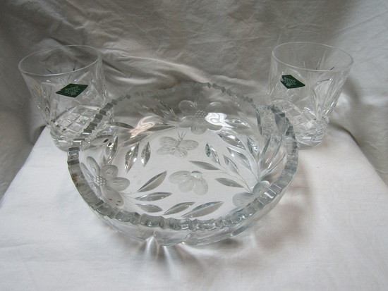 Lot of 3 Cut Glass Dish and Glasses, Ireland Designs