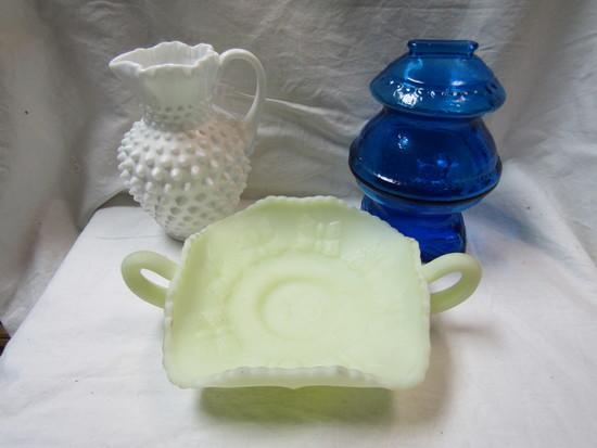 Lot of 3 Fenton Dish, HobNob Milkglass, Blue Glass Bank