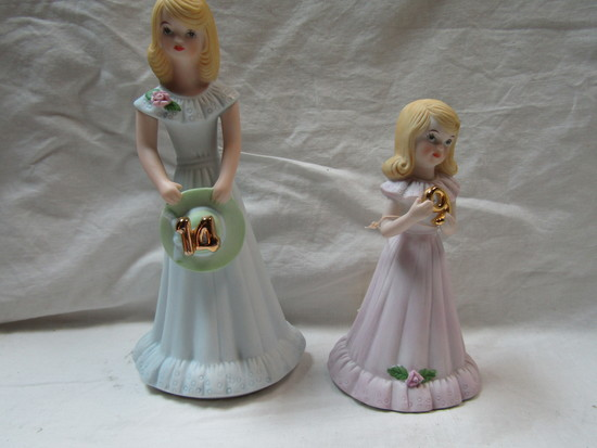 Lot of 2 Enesco Growing Up Girls, 9 and 14, Original Boxes
