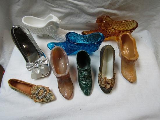 Lot of 9 Mini Decorative Shoes, Glass